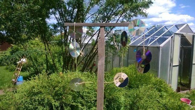 Блестящие предметы для защиты сада от птиц