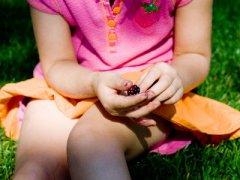 Девочка ест шелковицу